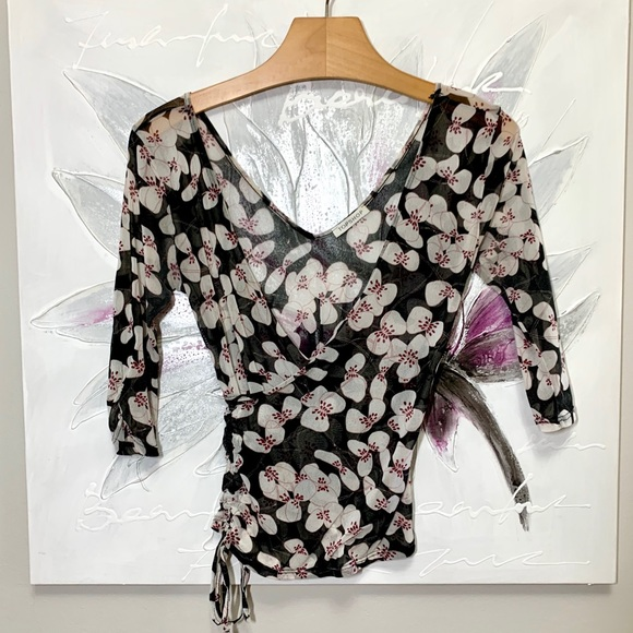 Topshop Tops - Topshop Sheer Crossover Print Top Black Size 6
